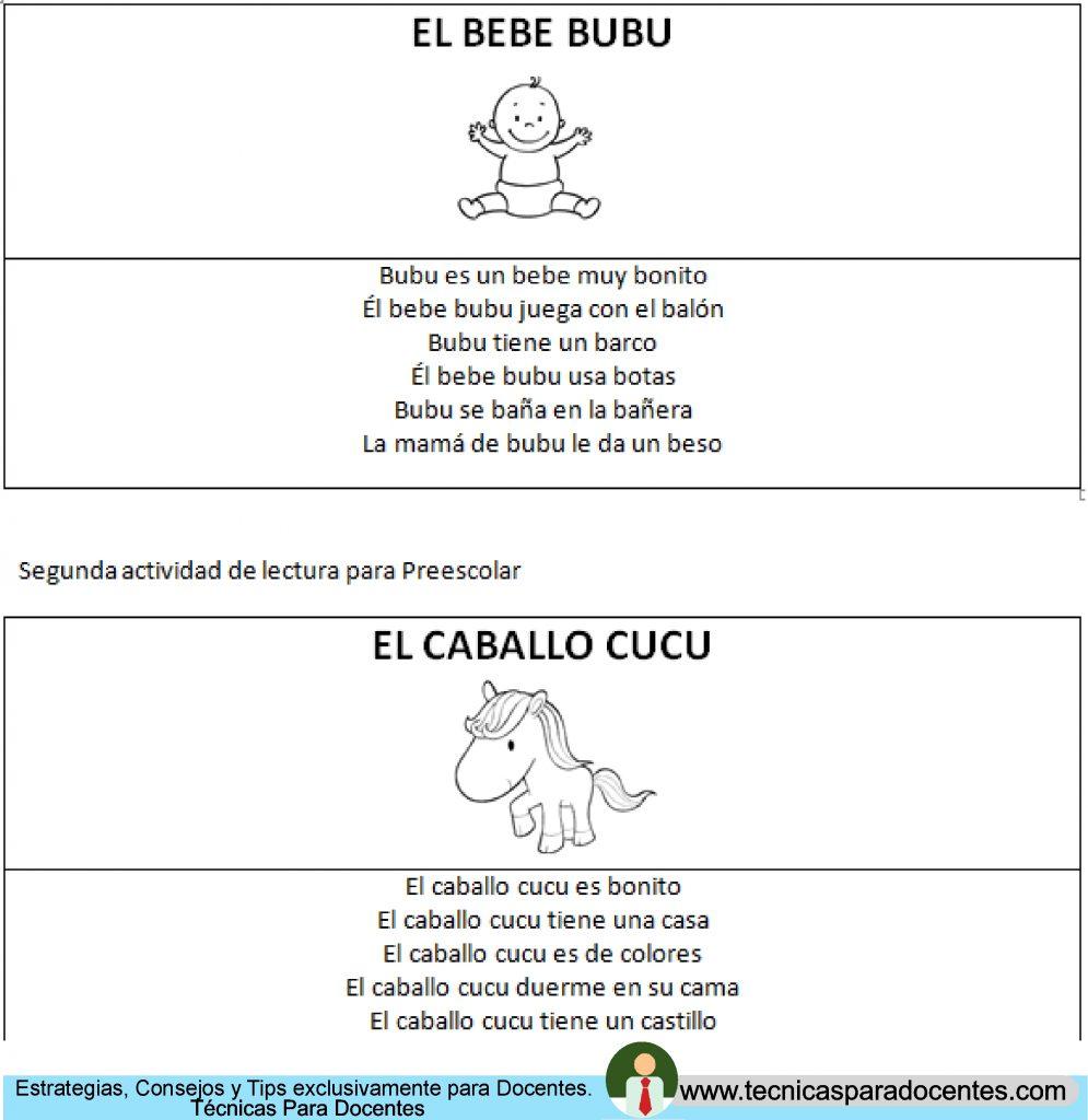 Actividades de lectura para Preescolar