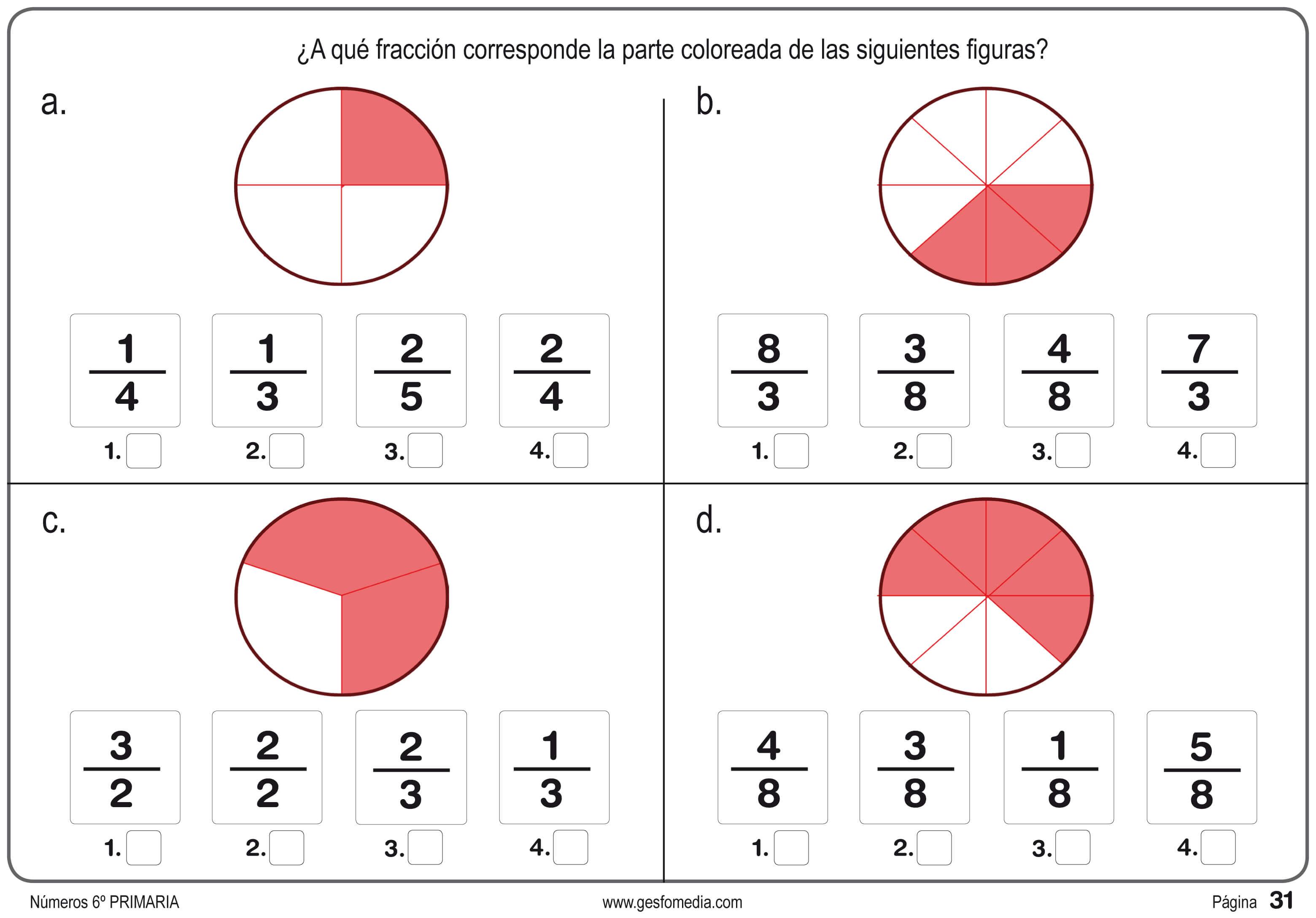 Ejercicios De Lectura Y Escritura De Fracciones - PDF - Imprimir ...