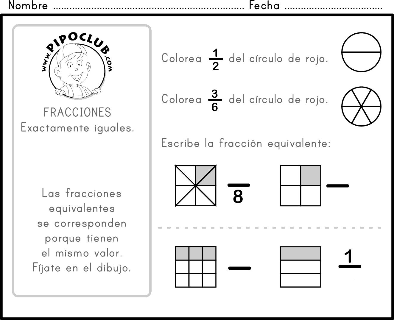 Ejercicios De Lectura Y Escritura De Fracciones - PDF - Imprimir |