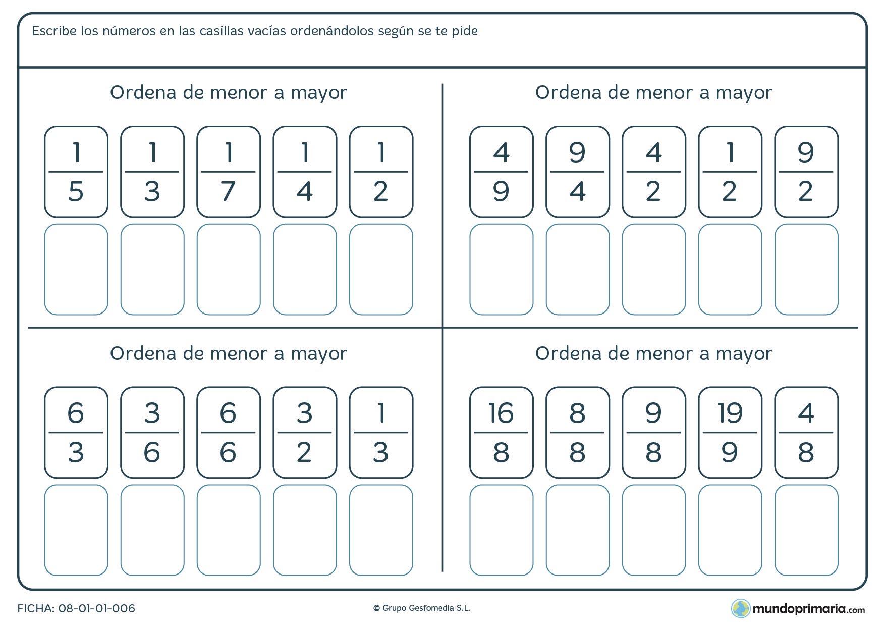 ▷ Ejercicios De Lectura Y Escritura De Fracciones - PDF - Imprimir