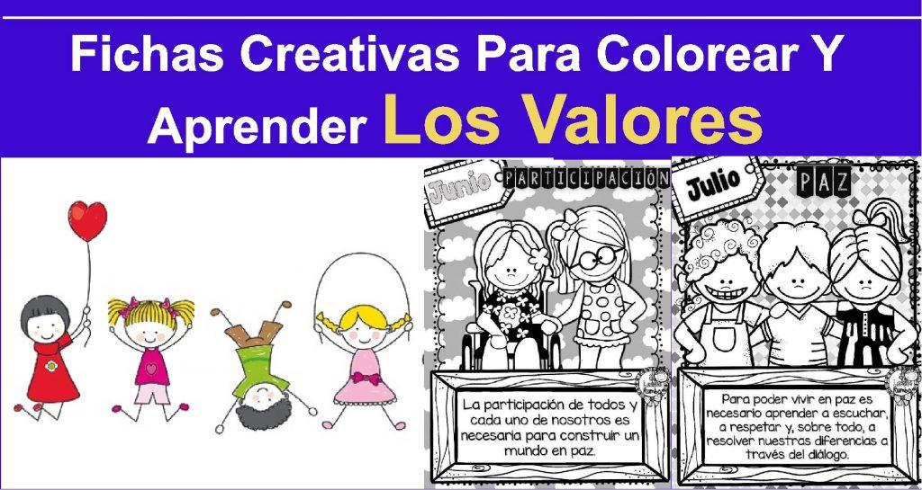 Fichas Creativas Para Colorear Y Aprender Los Valores Inicial Y