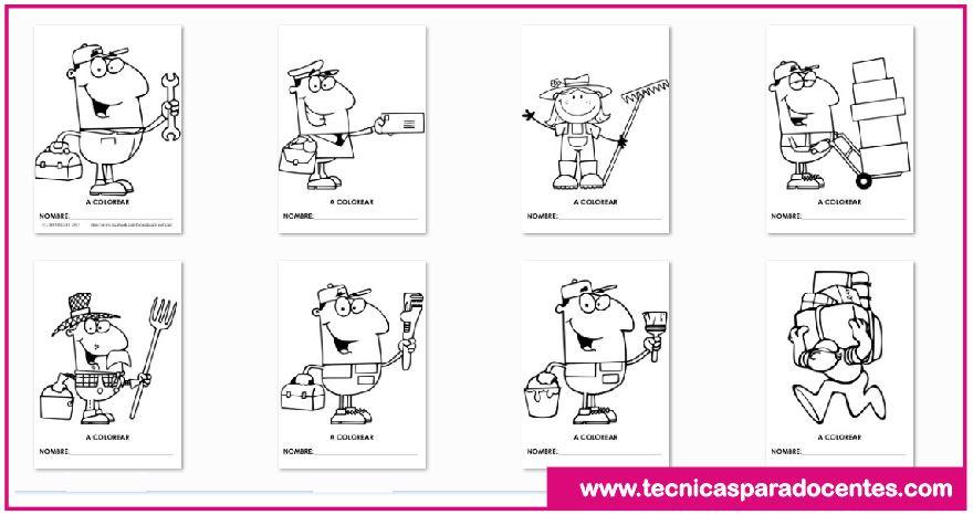 ▷ Fichas de Profesiones y Oficios para que los Niños Pinten - Gratis