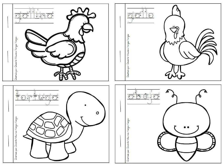 ▷ Fichas para que los niños pinten animales y aprendan sus nombres ...