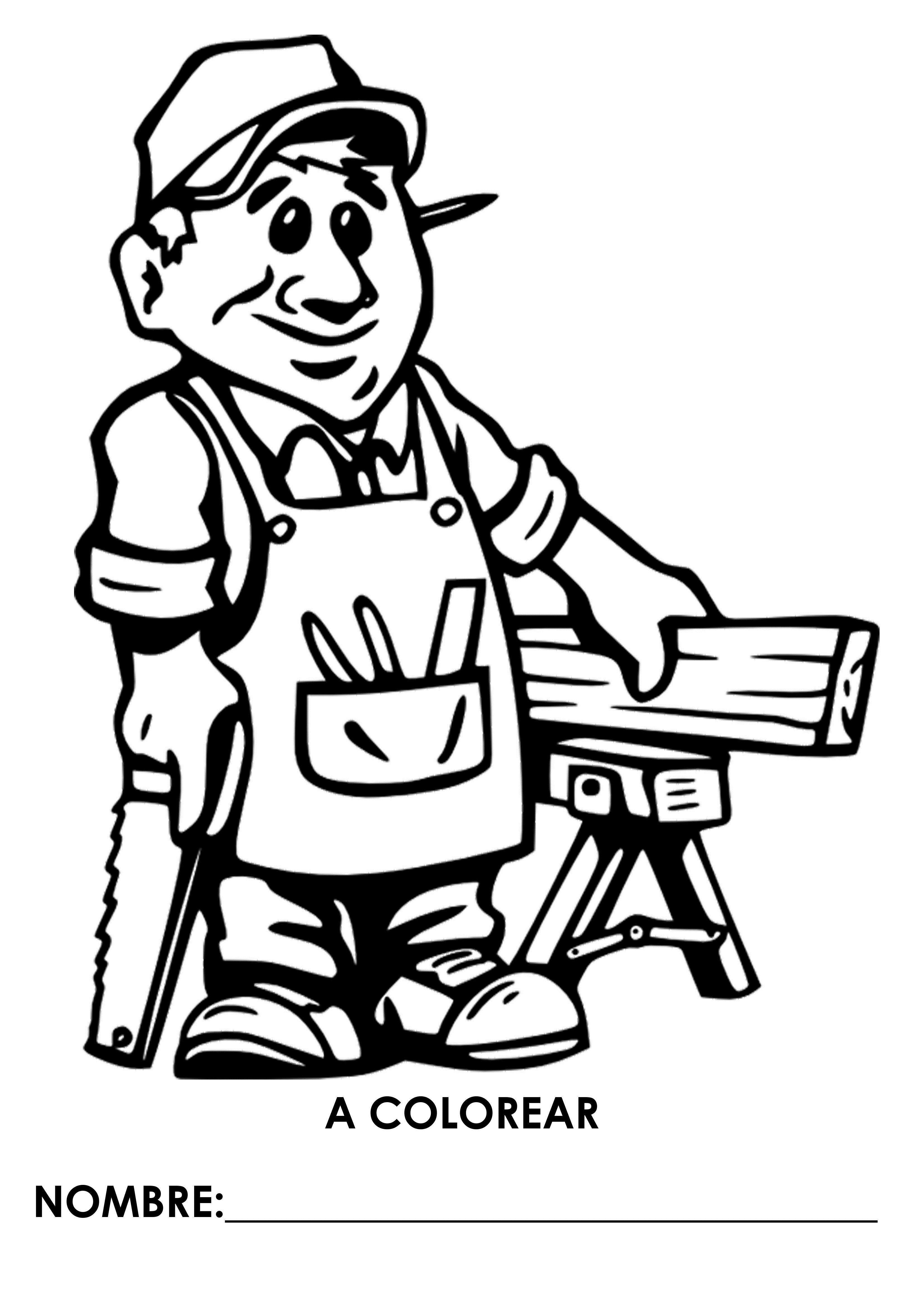 Fichas De Profesiones Y Oficios Para Que Los Niños Pinten